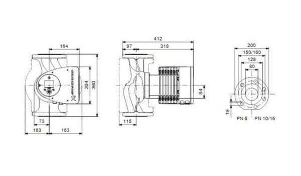 Grundfos Umwälzpumpe MAGNA3 80-120 F PN 6,1x230V,Länge=360mm