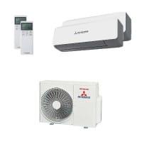 Mitsubishi Heavy Duo-Split Klimaanlage 6 kW Kühlen - 1x 2,5 kW + 1x 5 kW SRK ZS-WB + SCM 60 ZM-S